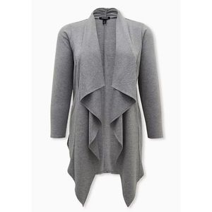 🆕Heather Grey Brushed Ponte Drape Front Jacket 2X